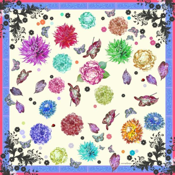 Cream Floral Scroll Medium Silk Scarf Susannagh Grogan Carnival Collection