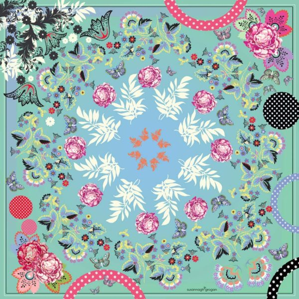 Eau d' nil green Floral Scroll SS19 Medium Classic Silk Square