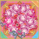 Baroque Floral Scrolls Large Silk Square Scarf Susannagh Grogan Carnival Collection