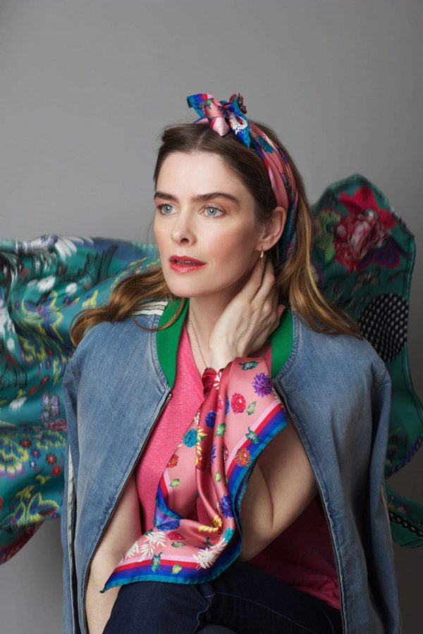 Susannagh Grogan Silk Scarves Scatter Floral small neck square