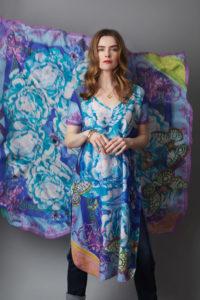 Susannagh Grogan BLUE carnival SCROLLS Tunic