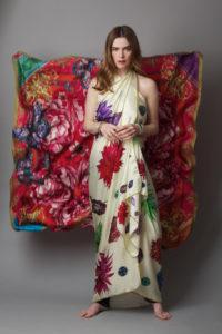 Susannagh Grogan FLOWER FLASH Cream XL Silk Scarf worn as dress - Background XL CARNIVAL Silk Scarf