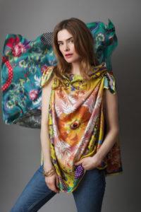 Susannagh Grogan GOLD SCROLLS Medium Silk Scarf - worn as top €150 -  Background GREEN SCROLLS Medium Silk Scarf €150