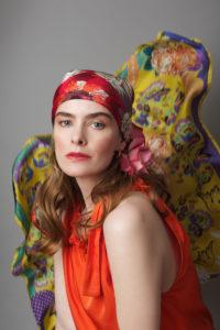 Susannagh Grogan ORANGE SCROLLS Medium Silk Scarf