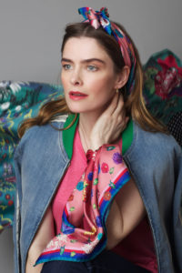 Susannagh Grogan SCATTER FLORALS Sml Silk Scarf in hair and wrist Background GREEN SCROLLS Silk Scarf