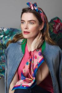 Susannagh Grogan SCATTER FLORALS Sml Silk Scarf in hair and wrist Background GREEN SCROLLS Silk Scarf