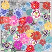 'Grey Floral' Small Silk Scarf