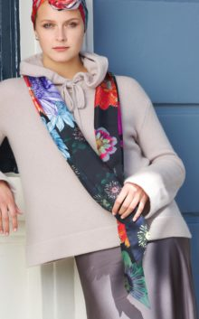 'Floral Black' Long Silk Scarf