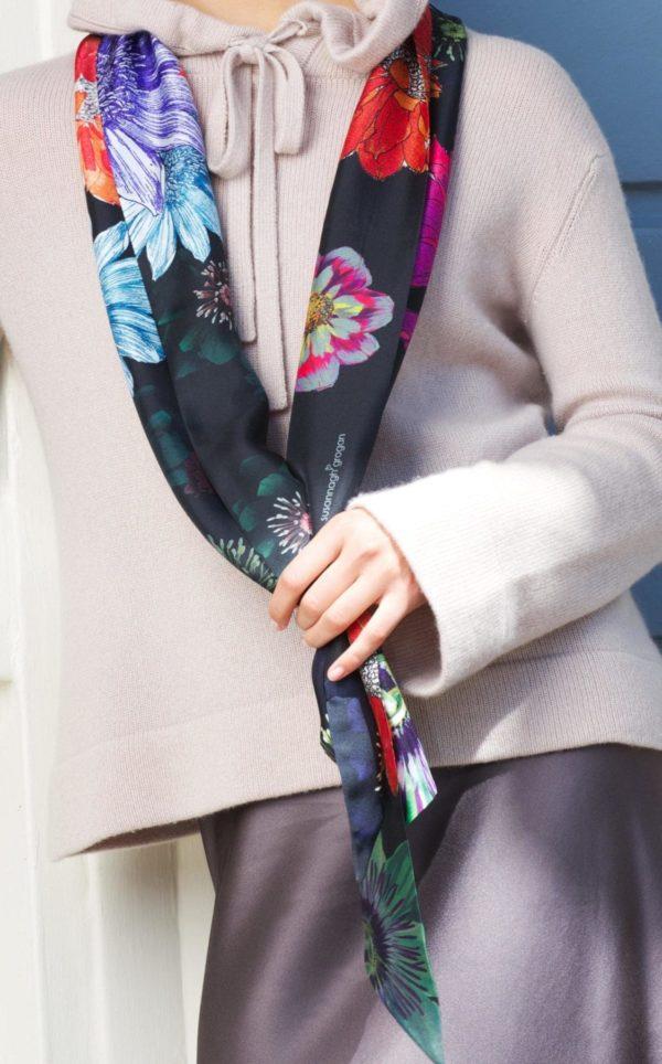 Black Floral Long Silk Scarf by Irish Fashion Designer Susannagh Grogan