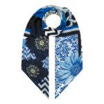 Ikat Blue Double sided Long Scarf. By Irish Print Designer Susannagh Grogan