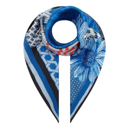 Ikat Blue printed Small Silk Scarf Susannagh Grogan €90