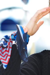 Ikat Blue Small Susannagh Grogan Silk Scarf