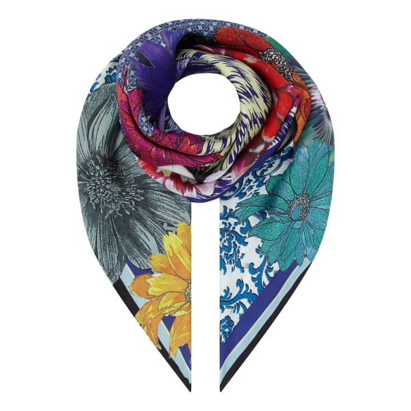 Floral Ikat printed Silk Scarf Small by Irish Designer Susannagh Grogan