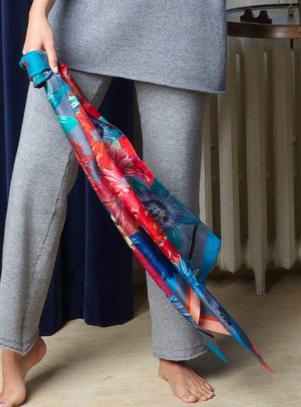 Ikat Peachy Keen Double sided Long Scarf by Irish print designer for fashion Susannagh Grogan