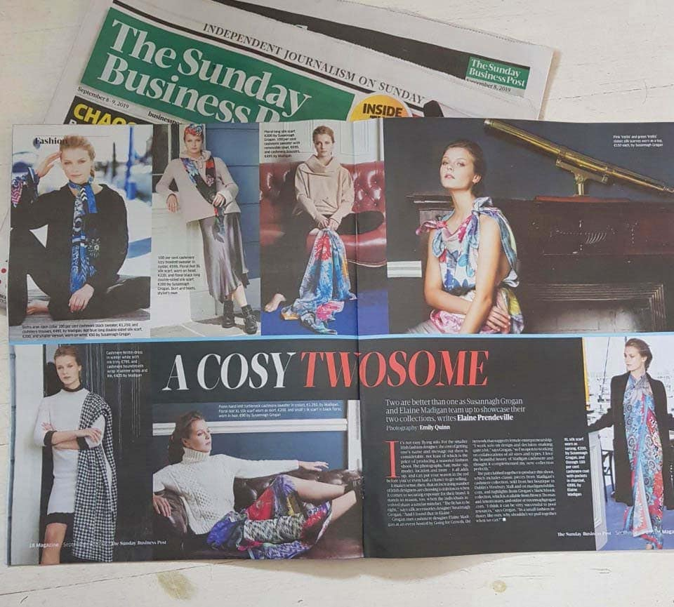 Susannagh Grogan Printed Silk Scarves X Madigan Cashmere Sunday Business Post September 2019 Irish Designers