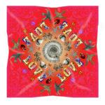 Red Love Silk scarf Susannagh Grogan