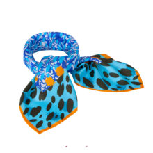 'Blue Animal Print' Small Silk Scarf