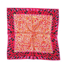 'Red Animal Print' Small Silk Scarf