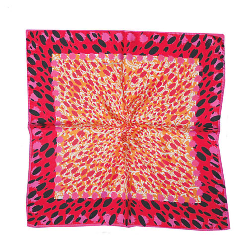 Pink Animal Print Silk Scarf