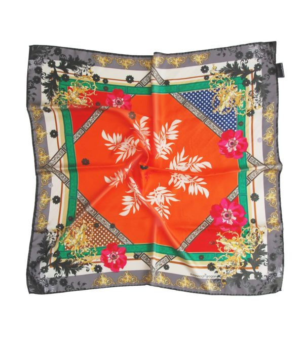 Orange Silk scarf. Classic printed scarves. Designed in Ireland