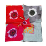 Red Pink Floral Chain Susannagh Grogan Small Silk scarf