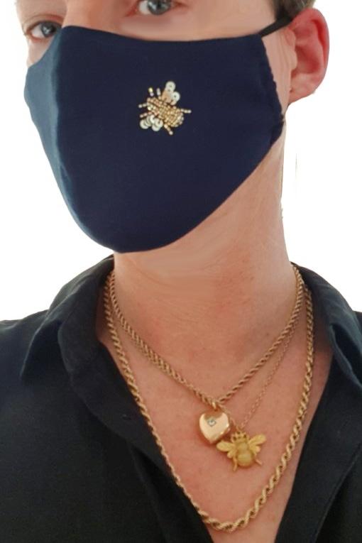 Susannagh Grogan Scarves - Navy + Gold Bee Face Mask