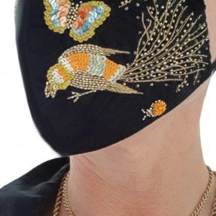 Susannagh Grogan Gold Bird face Mask