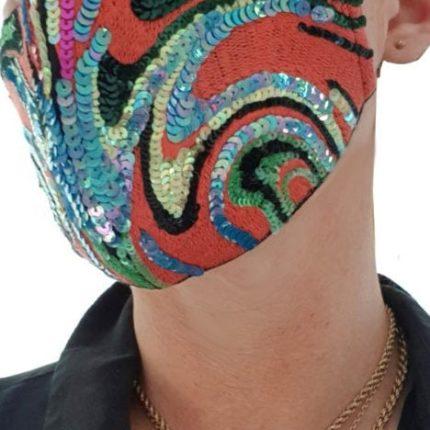Susannagh Grogan Red swirl Stripe Mask