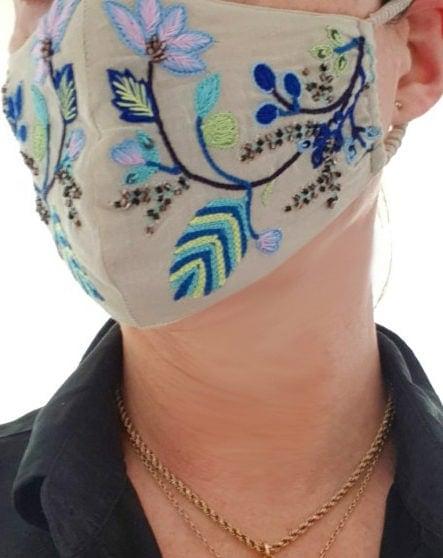 Susannagh Grogan floral embroidery face mask