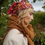 Silk scarf. Designed in Ireland by Irish fashion designer Susannagh. Grogan. Red and yellow