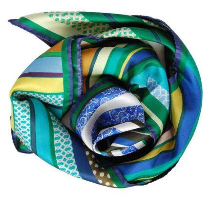 Green Swirl printed Silk Scarf by Irish designer Susannagh Grogan