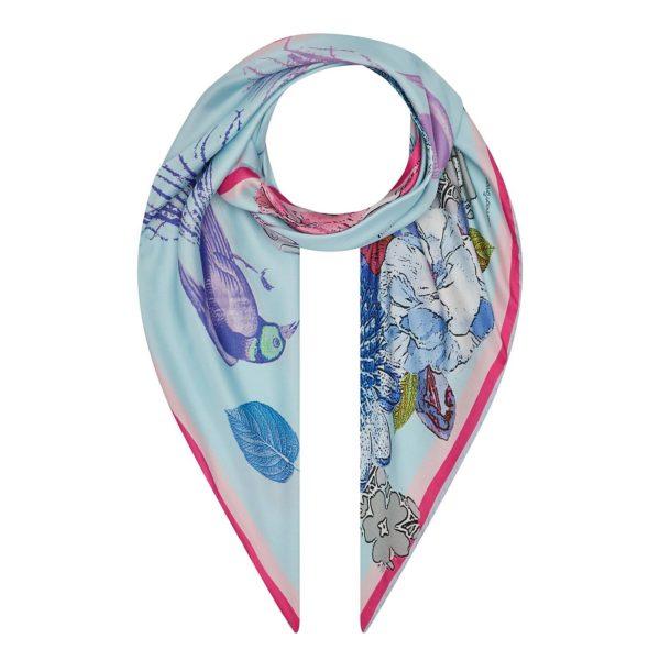 Blue Pastel Bird susannagh Grogan silk scarf