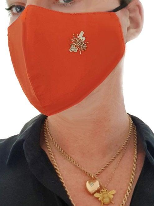 Irish Designer orange Bee facemask Susannagh Grogan
