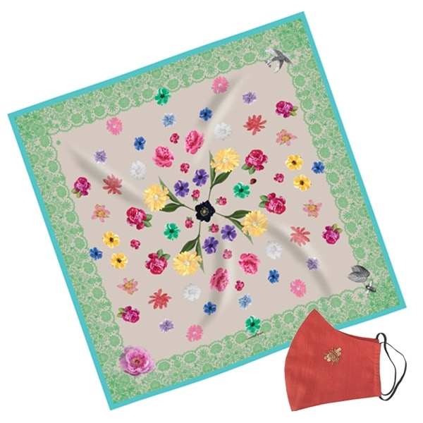 Gift Set Susannagh Grogan Classic Green Lace Silk Scarf + Coral Bee mask Designed in Ireland