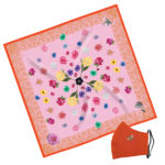 Gift Set Susannagh Grogan Classic Pink Lace Silk Scarf Orange Bee mask Pink Lace + Floral printed silk scarf, Designed in Ireland