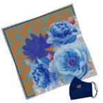 Gift Set Susannagh Grogan S Orange + Blue Silk Scarf navy mask
