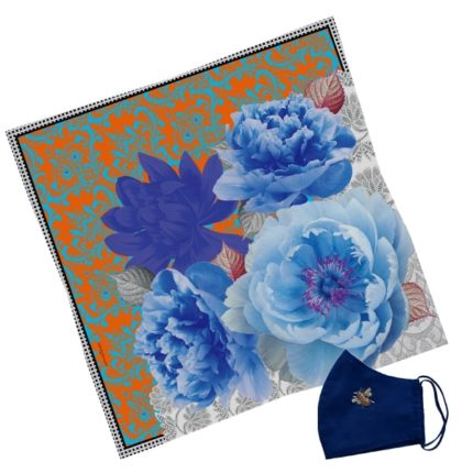 Gift Set Susannagh Grogan S Orange + Blue Silk Scarf navy mask