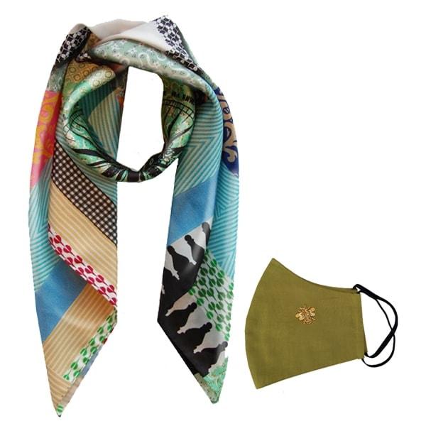 Gift Set Susannagh Grogan Xl luxury geometric Silk Scarf Khaki Green bee mask