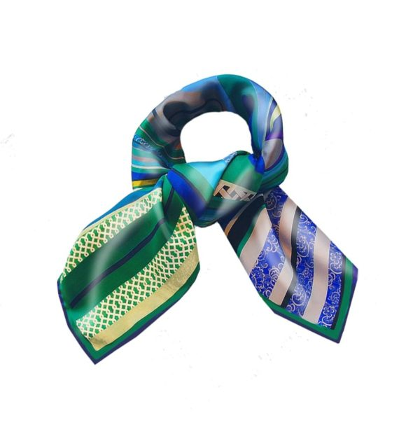 Green Swirl Silk Scarf Susannagh Grogan