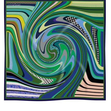 Green Swirl printed Silk Scarf Susannagh Grogan