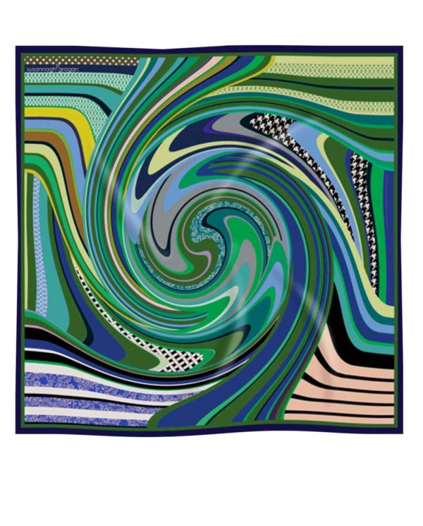 Green Swirl printed Silk Scarf Susannagh Grogan