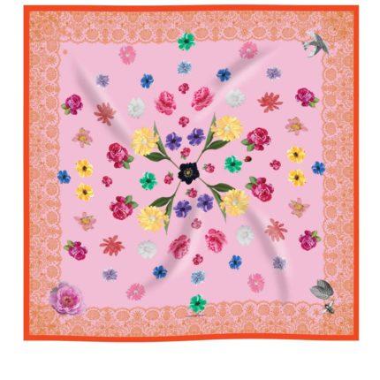 Coral pink and orange flower printed silk scarf