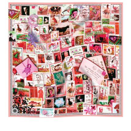 Blush SWALK stamp silk scarf by Irish designer Susannagh Grogan