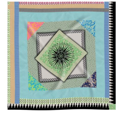 Geometric printed silk scarf by Irish designer Susannagh Grogan