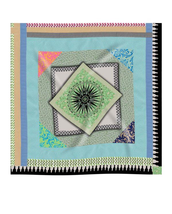 Geometric printed silk scarf by Irish designer Susannagh Grogan